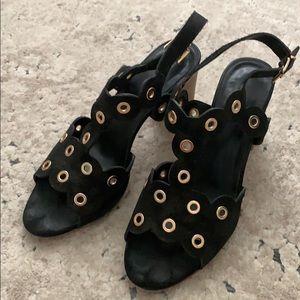 Black and gold vaneli heeled sandals